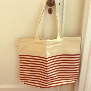 Brand new J.CREW striped canvas tote